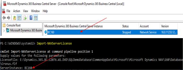 Business Central D365 Server Instance