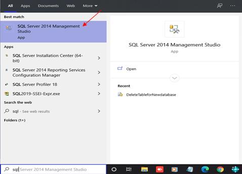 Open SQL Server Management Studio