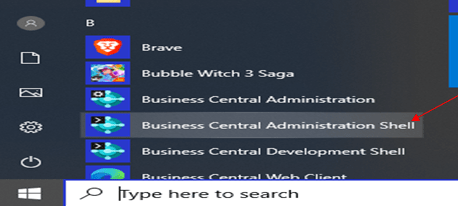 search for business central administration shell