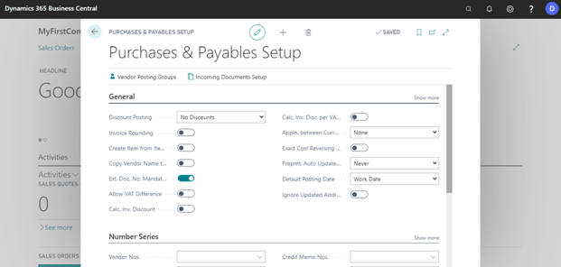 Fill purchases and payables setup in dynamics 365