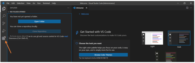 install extension from the vs extension list