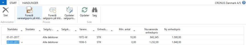 Priser i C5 NAV - Rediger kladde