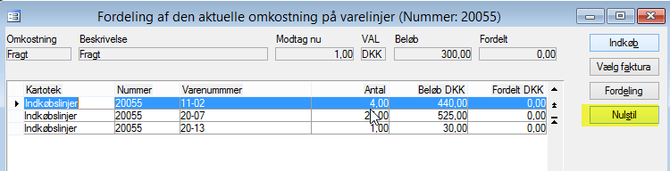 Annuller fordeling - fordeling af omkostninger på indkøbslinjer i C5