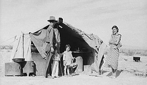 Great Depression: At Holtville, California, family awaiting forced return to Oklahoma.