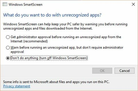 disable windows smartscreen