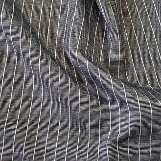 dunkelblauer Jersey mit weißen Streifen aus Baumeolle/Elastan