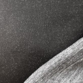 schwarzer/grau-melierter Interlock Jersey aus Viskose/Wolle/Elastan