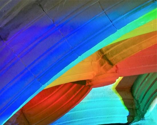Church art made from rainbow light