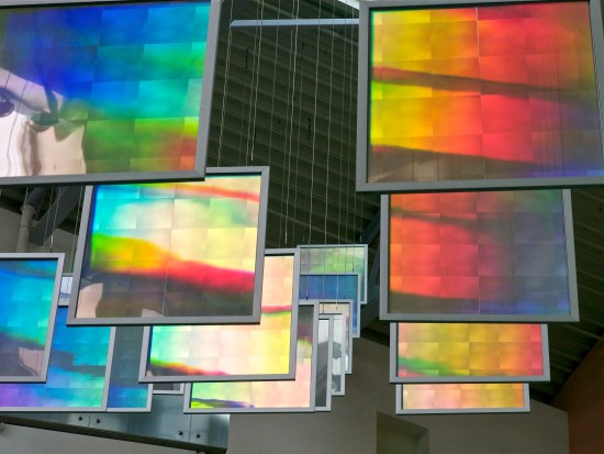 close up of curving row of colored prism panels