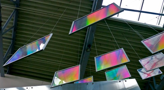 brilliant rainbow colored prism panels seen from below