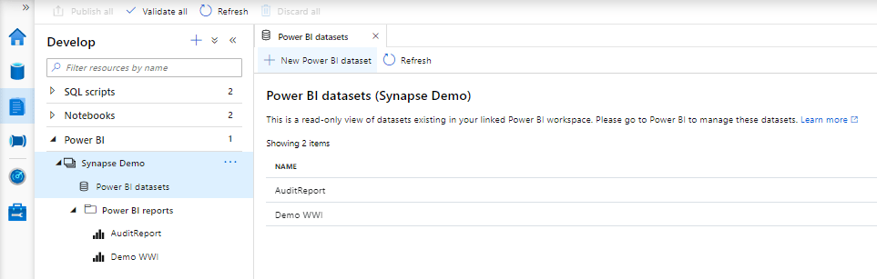 Azure Synapse PowerBI Create New DataSets