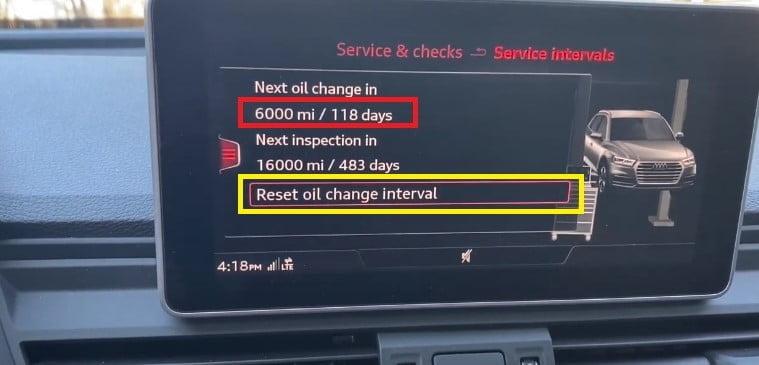 Audi Q5 Reset Oil Change Interval
