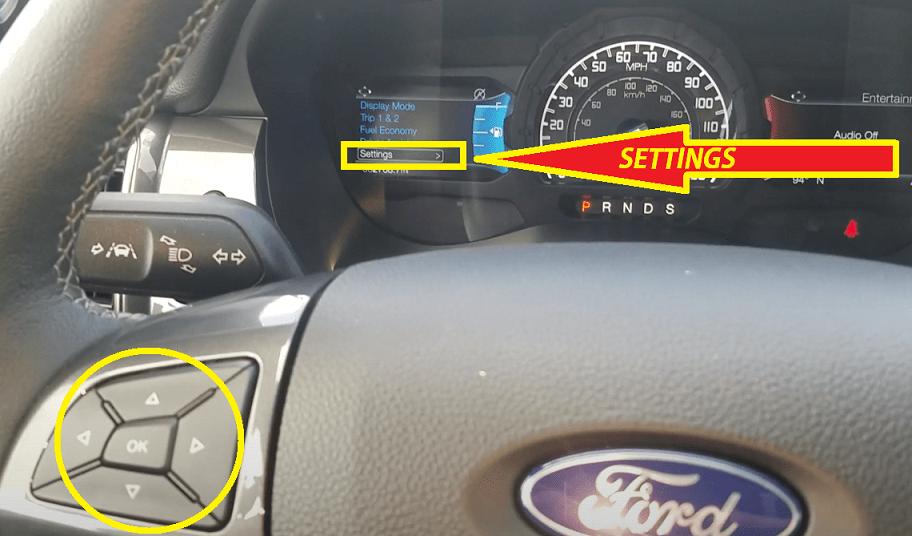 Ford Ranger Oil Reset - Press Down Arrow to navigate Settings