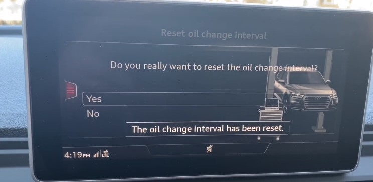 The oil change interval has been reset