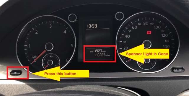 Volkswagen Passat Spanner service light reset-Press the button on the left of the instrument cluster