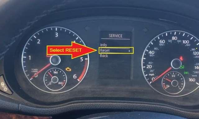 Volkswagen Passat -select reset