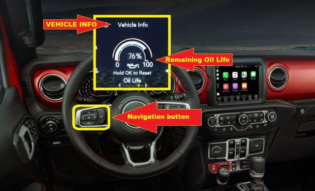 Jeep Gladiator Oil life reset - navigate VEHICLE INFO then scroll to OIL LIFE.
