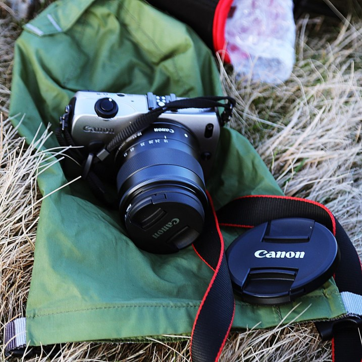 One camera's never enough. Here's the spare camera – a Canon EOS M that we even take running…