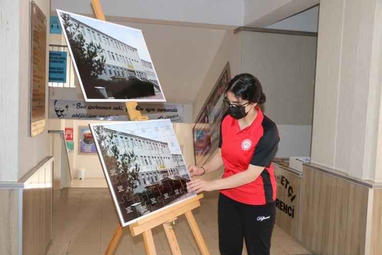 Erzincan Spor Lisesi öğrencileri yap-boz ile okulun fotoğrafını oluşturdular