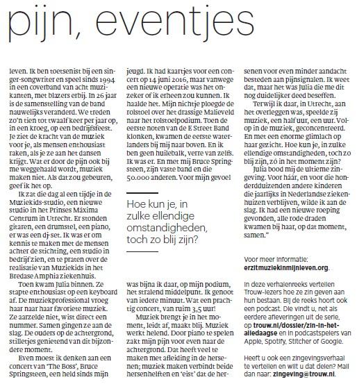 Voorbeeld patiëntenparticipatie: delen van ervaringen in landelijk dagblad Trouw