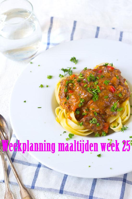 Weekplanning maaltijden week 25