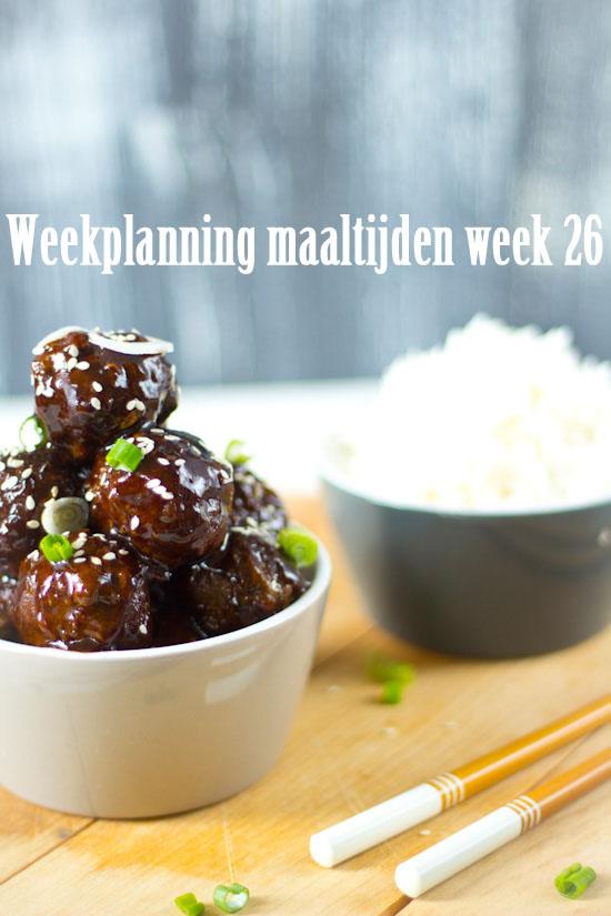 Weekplanning maaltijden week 26