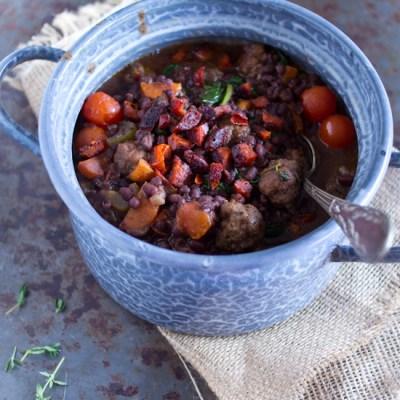 Gehaktballetjes aduki bonen tomaten stoofschotel