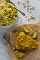 Krokant gebakken schol met een stamppot van prei en aardappel