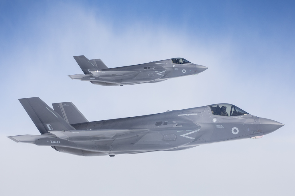 Britain's next-generation fighter jets have taken off from the United States and are flying over the Atlantic Ocean towards RAF Marham