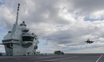 FIRST UK FIGHTER JETS LAND ONBOARD HMS QUEEN ELIZABETH