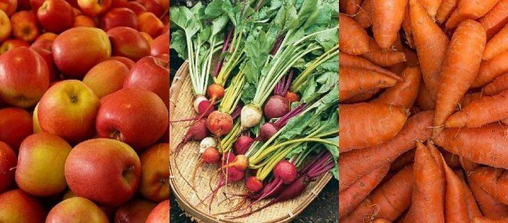 manzana, zanahoria y carlota