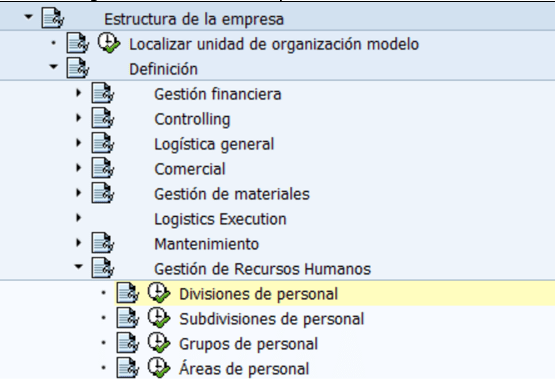 Configuración Hcm Sap Definición División De Personal
