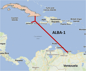 Image of the connection between Cuba, Venezuela, and Jamaica through the ALBA 1 fiber optic cable. Taken from the Renesys blog.