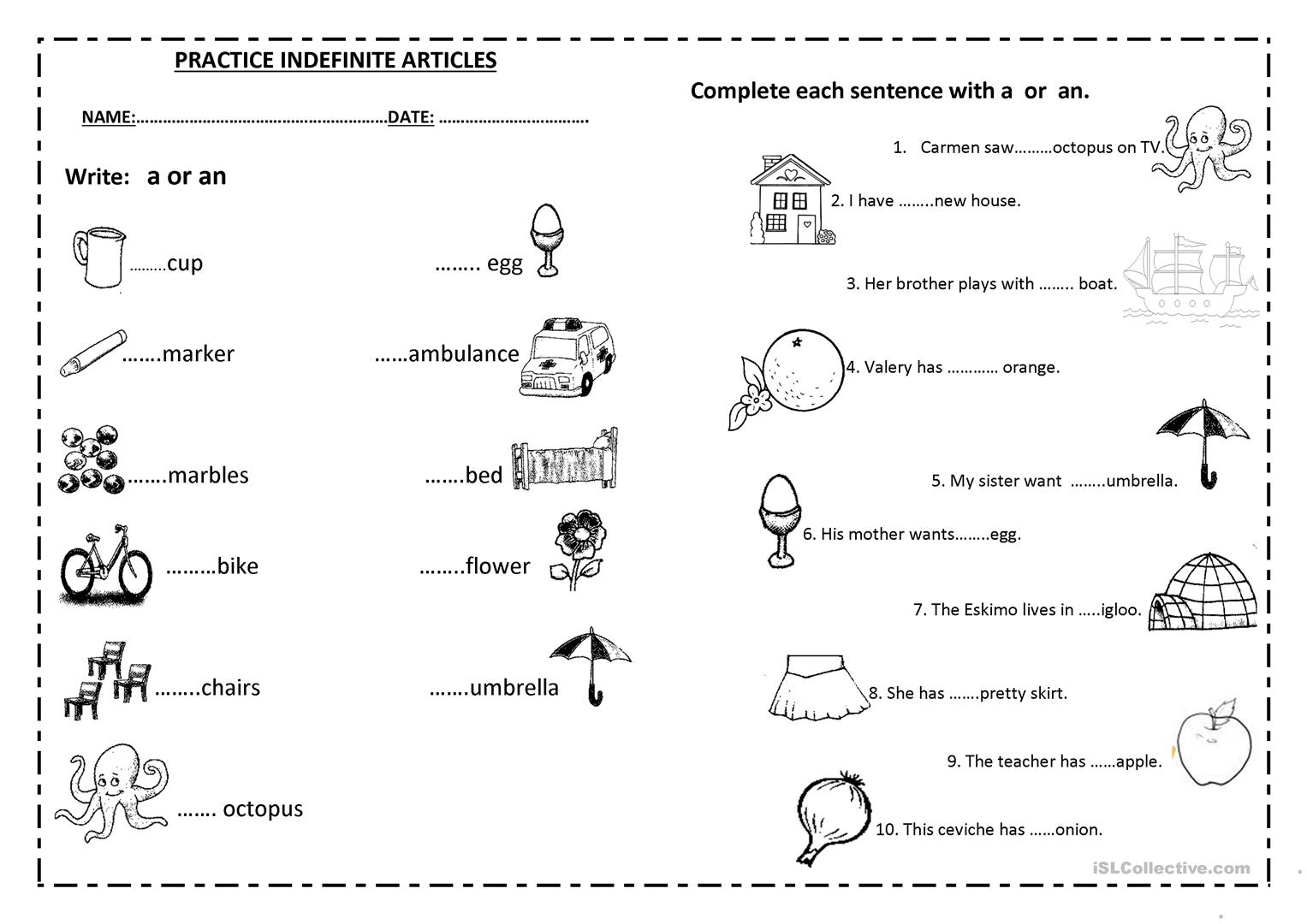 Articles Worksheet Espanol