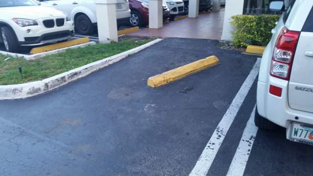 Tope en el centro de un espacio de estacionamiento en un centro comercial. No es un Publix.