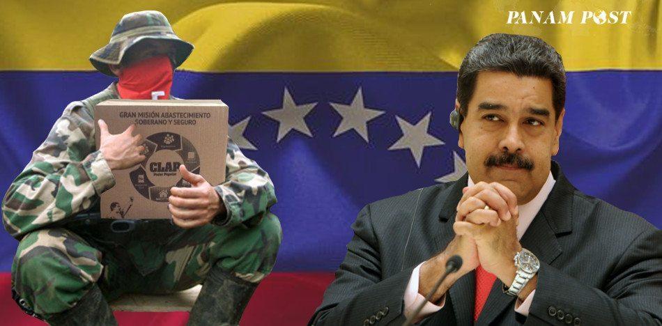 La caja CLAP entregada en Táchira, Zulia y Apure por el frente Gustavo Velasco Villamizar del ELN aparece la promoción de una de las tres emisoras de la guerrilla colombiana. (Fotomontaje PanAm Post)