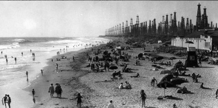 Petroleum extraction in southern California in the mid-20th century.