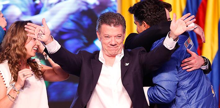Juan Manuel Santos celebra su victoria electoral en Colombia
