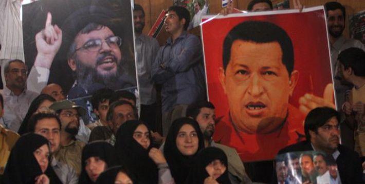 Imagen de Hassan Nasrallah, líder de Hezbolá, con la del fallecido presidente venezolano Hugo Chávez. (IsraelWTF)