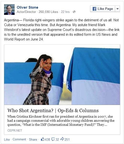 Oliver Stone criticando a los EUA. (The Oliver Stone Facebook)