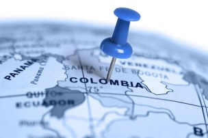 Location Colombia. Blue pin on the map.