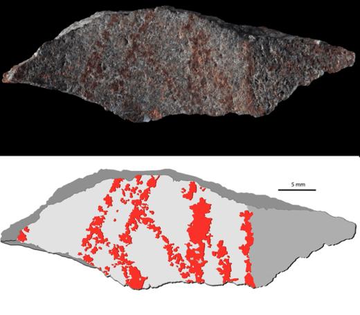 Esquema de los trazos identificados en la roca