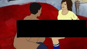 Imagen censurada del dibujo animado impuesto sobre niños de colegios suecos. Tome nota de la cara deprimida de la chica y la políticamente correcta pareja interracial.