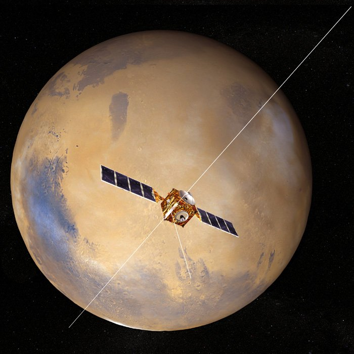 Mars Express en órbita alrededor de Marte con la antena MARSIS desplegada.
