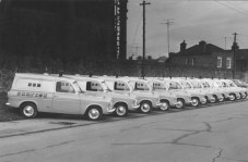 Ford Anglia Vans.Sth. Lotts Road early 60's. Yellow over grey