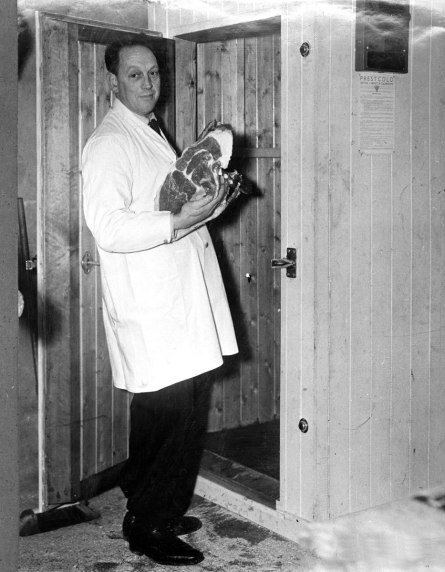 Mr. John Longhran and his new electric refrigerator Kilmessan December 1949