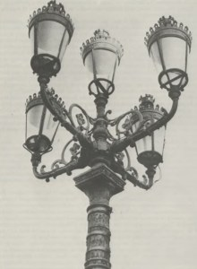 The Five Lamps, at the junction of Amiens Street and North Strand Road, early examples of late 19th century lighting in Dublin. Originally used as gas lamps