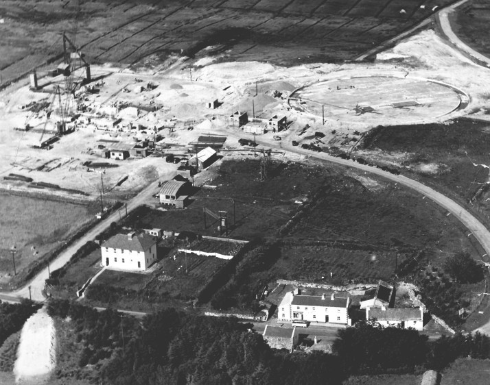 Aerial view of station foundations, c1958