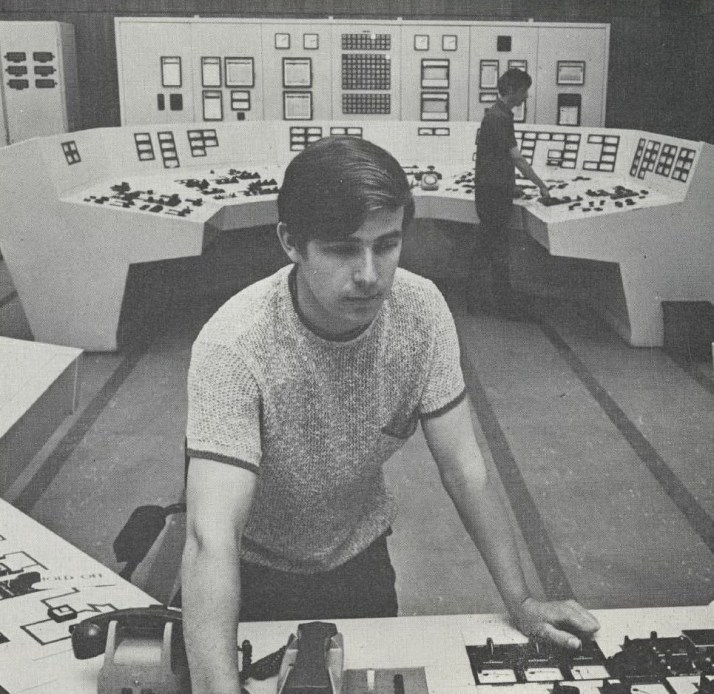 Control room at Tarbert station, 1970s