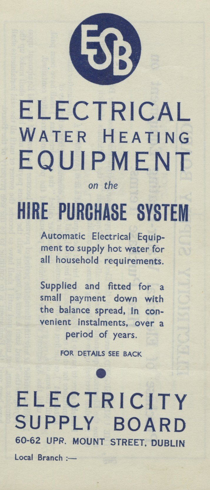ESB pamphlet for water heating equipment, c1930s.